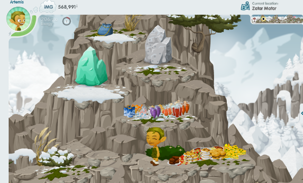 A snap of a glitchen standing on a mountain peak, surrounded by ledges containing a large amount of crafted drinks and meals.