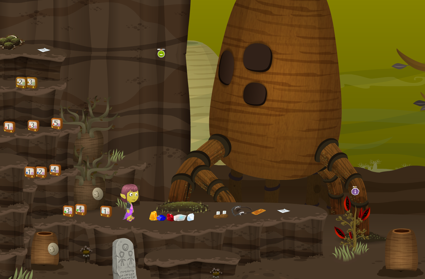 A glitch stands on a street in Jethimadh, beside a cliff with a large bottletree in the background. She is surrounded by musicblocks, gems, and other items.