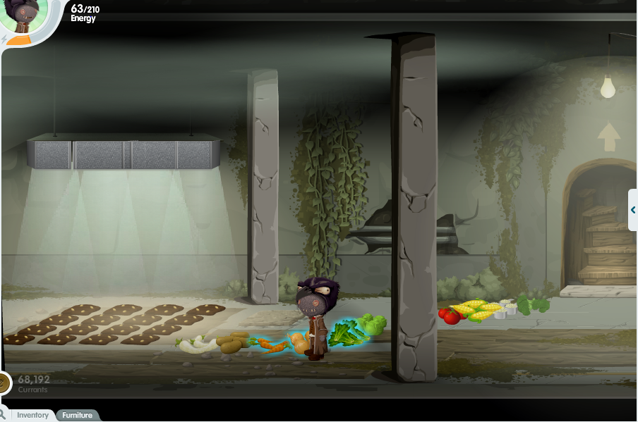 A glitch stands in a dingy basement, next to a group of 12 garden plots illuminated by a grow light. She stands in the midst of a large pile of different kinds of produce.