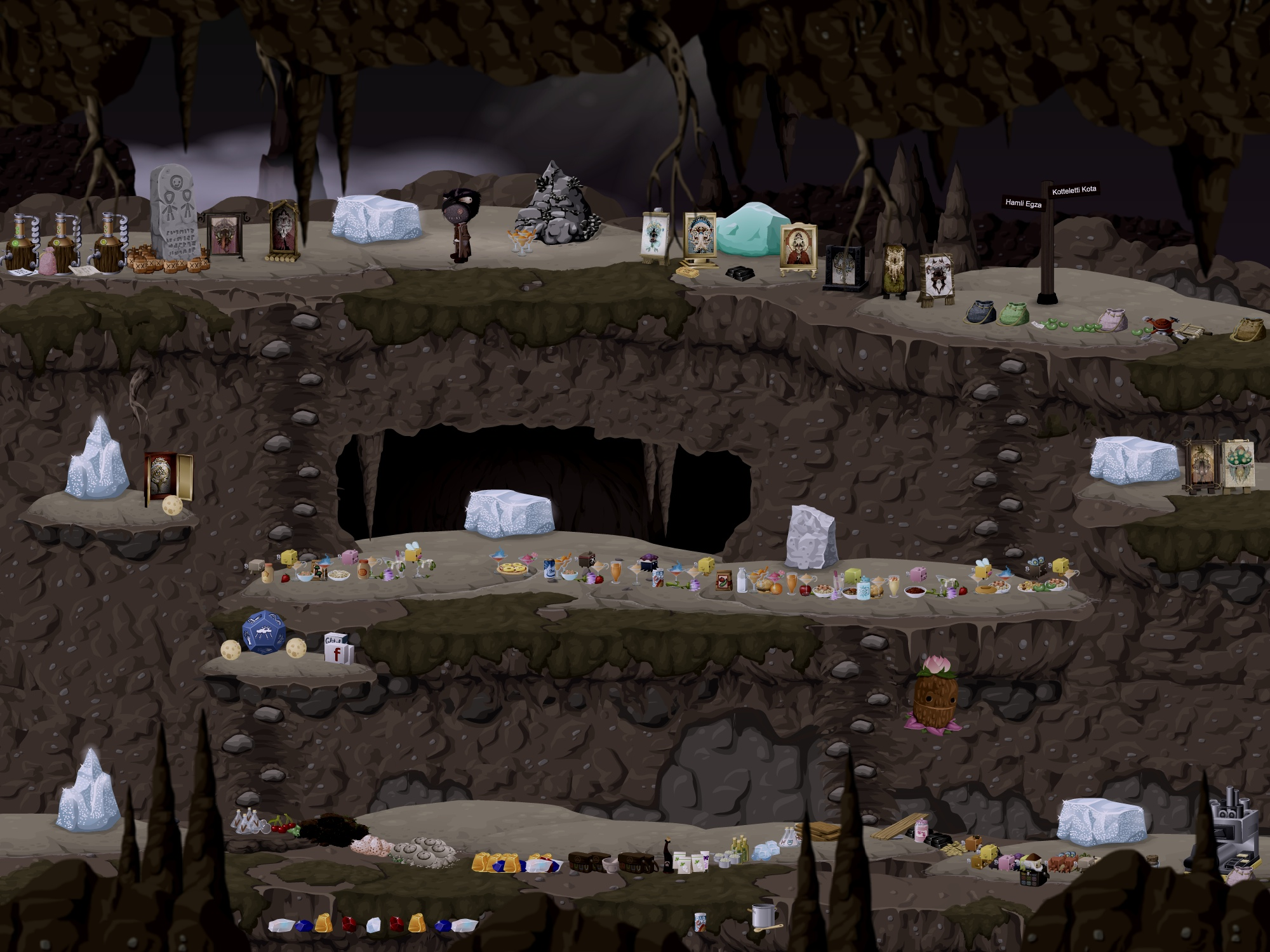 A glitch stands in the mines of Pollokoo. Most of the ledges and platforms are covered with an assortment of items.